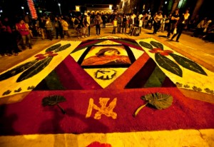 Flower tapestries in Main Square Ayacucho